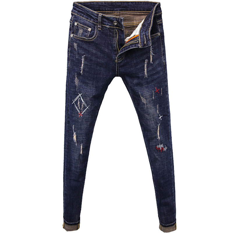 Simple Stylish 2020 Fashion Casual Stitching Decorative Denim Jeans Men's Spring Autumn Hip Hop Slim Stretch Skinny Pants Men
