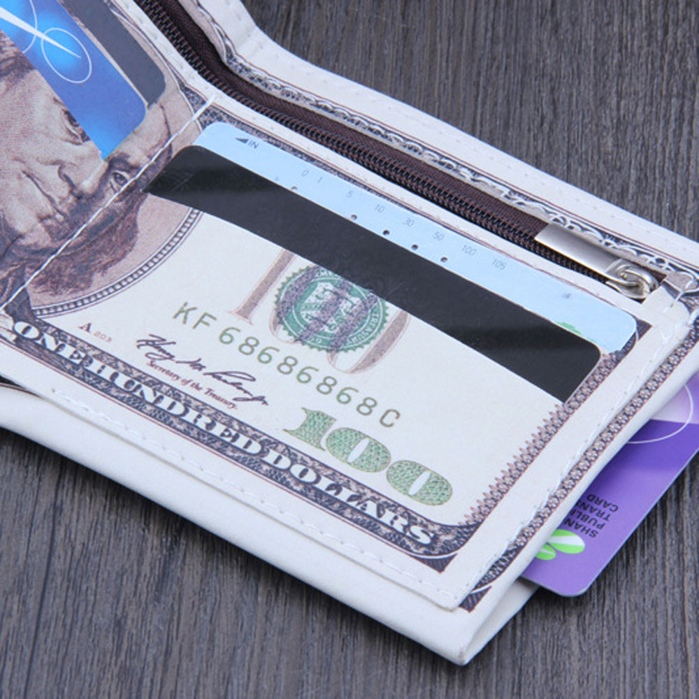 Creative Money Clip Wallet 2019 Fashion Casual Us Dollar Bill Shape Wallet Leather Credit Clip Wallet Money Purse Ferma Soldi