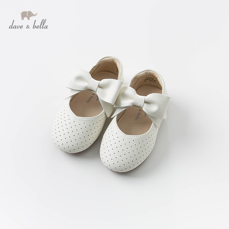 DB12633 Dave Bella Spring Baby Girl Beige Leather Shoes Children Brand Princess Shoes With A Big Bow
