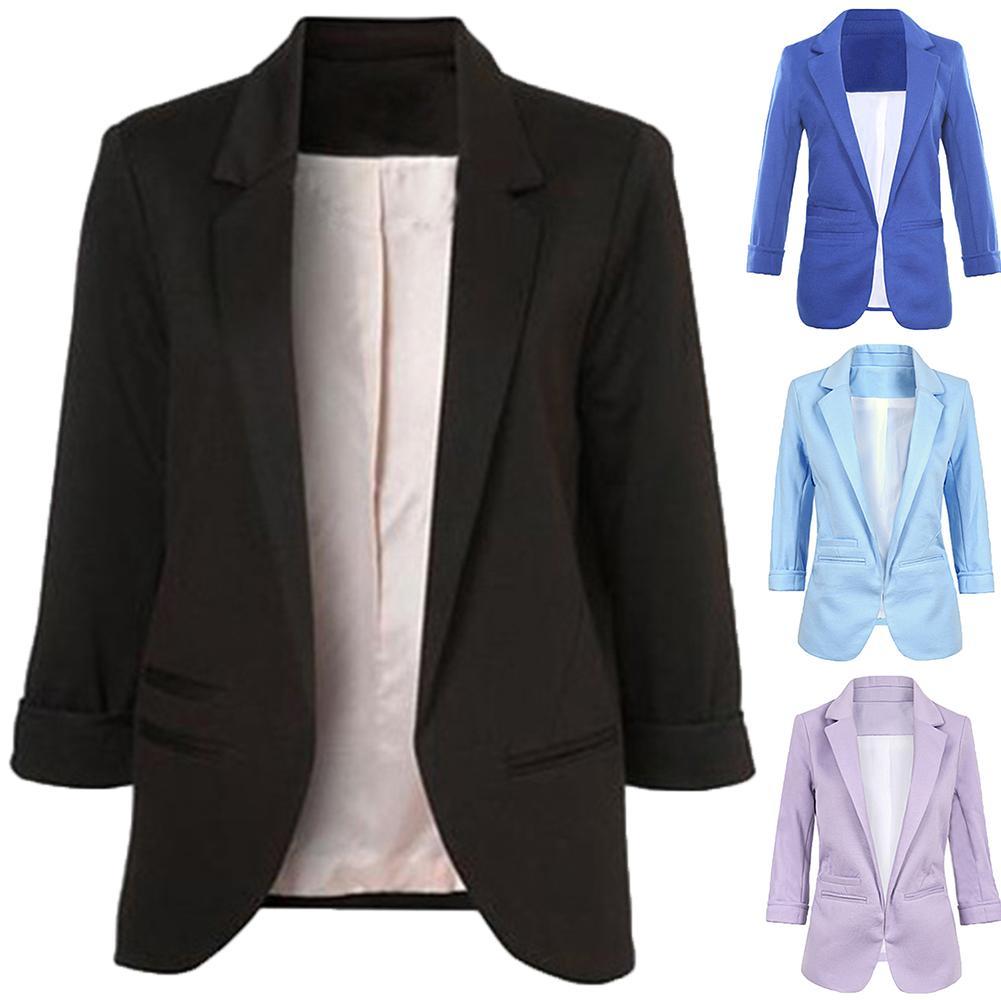 Chic Double-breasted Women Jackets Notched-neck Women Blazer Jacket Female Outerwear Elegant Ladies Coat 2019 Autumn