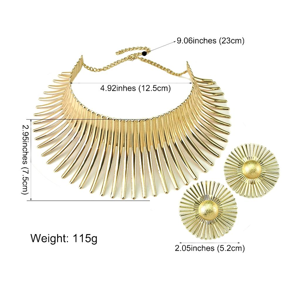 Africa Necklaces Jewelry Set Gold Color Metal Big Exaggerated Torque Choker Necklace Earrings Set Jewelry Steampunk Party UKMOC 5