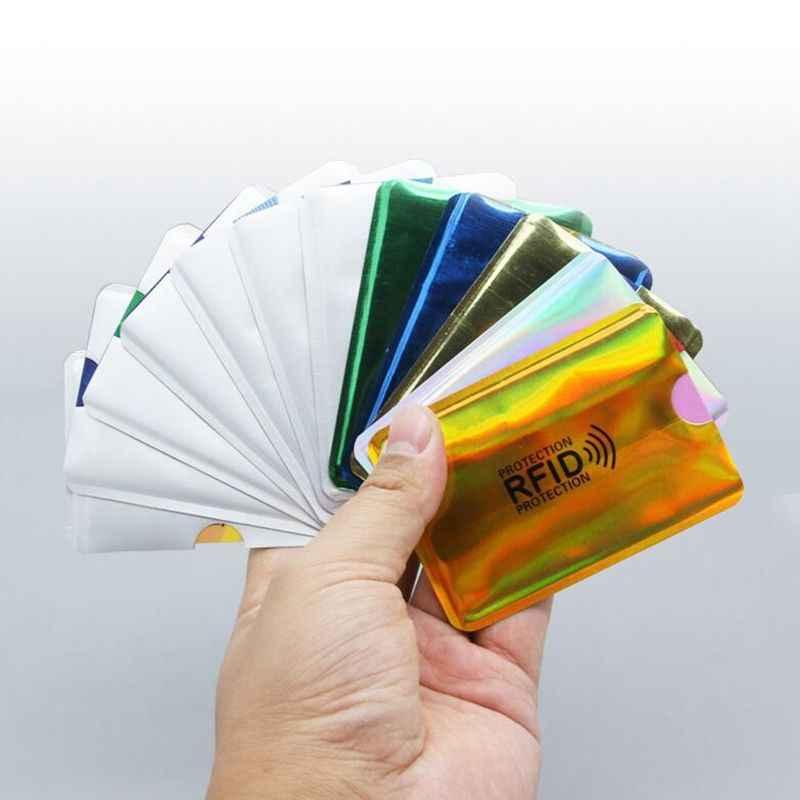 20 sztuk Laser Aluminium Anti portfel rfid blokowanie czytnik blokada pojemnik na kartę bankową ID etui na karty bankowe ochrona biznesu Metal Credit