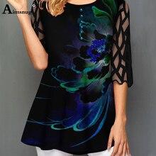 O collo Hollow out Manica Magliette E Camicette monopetto Camicia di T Più Il formato Femmina T Shirt Allentato Ladies5x 2020 WomenPrint Pulsante Blu