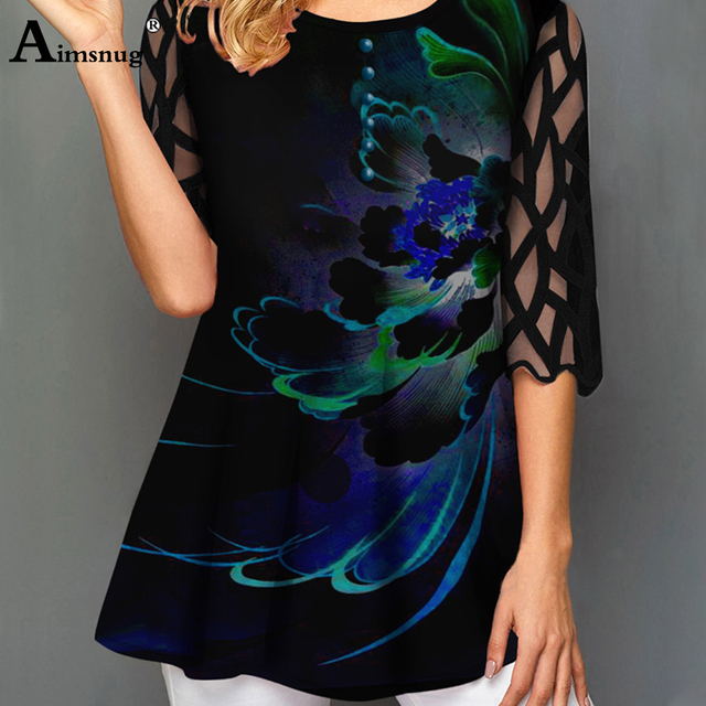 O neck Hollow out Sleeve Tops Single breasted Tee Shirt Plus size Female T Shirt Loose Ladies5x 2020 WomenPrint Button Blue