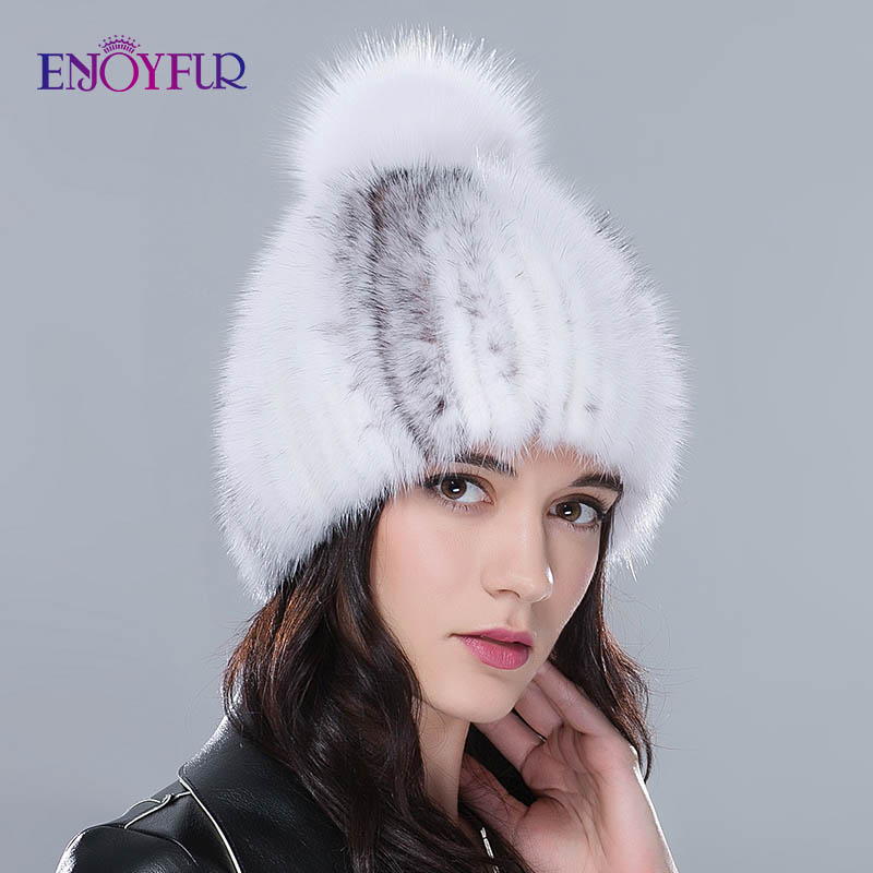 Real Mink Fur Hats For Winter Women Fur Cap With Fox Fur Pom Pom Top New Sale High Quality Luxury Female Knitted Beanies