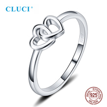 CLUCI Silver 925 Romantic Double Heart Anniversary Ring Simple Design Women Engagement Gift Jewelry