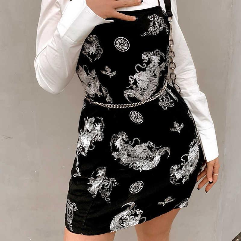 Waatfaak-robe droite de Style chinois, tenue droite à manches courtes, avec imprimé Dragon, Harajuku, noir, été 2020