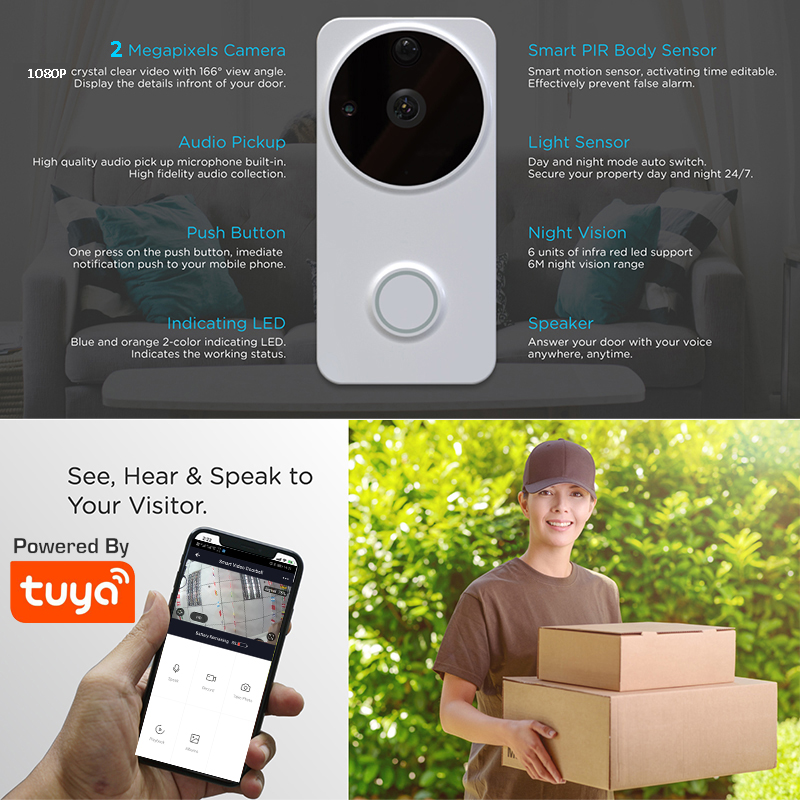 1080P Outdoor Video Doorbell Tuya Smart Battery Powered Ring WiFi Video Doorbell Camera PIR Motion Detect With Alexa Google Home