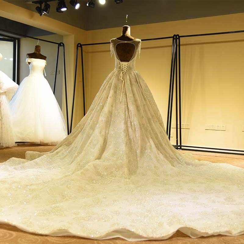 Vestido de noiva vestido de noiva uma linha sem costas vestido de casamento real fotos