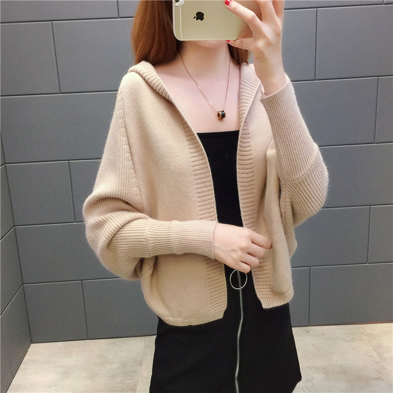 2019 Free send New style Korean loose and comfortable Autumn women Cardigan Sleeve of bat Hooded Sweater coat 122