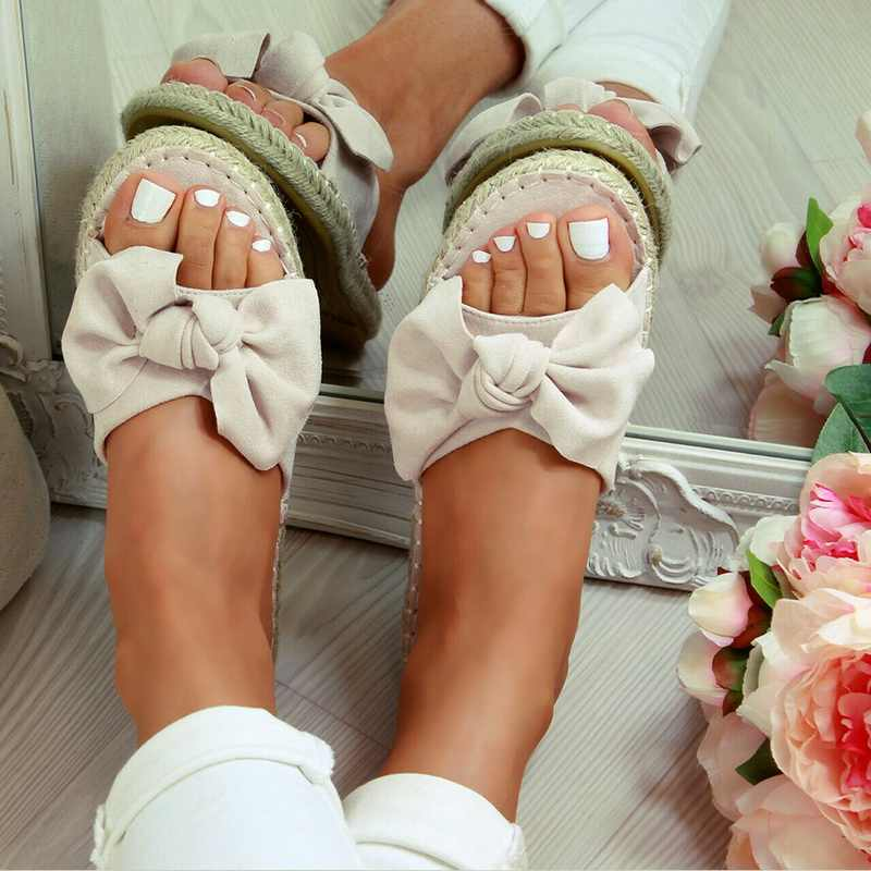 Musim Panas Datar Sandal Busur-Simpul Sandal Wanita Sepatu Comfort Retro Anti-Slip Beach Sepatu Platform Slide Plus Ukuran zapatos Mujer