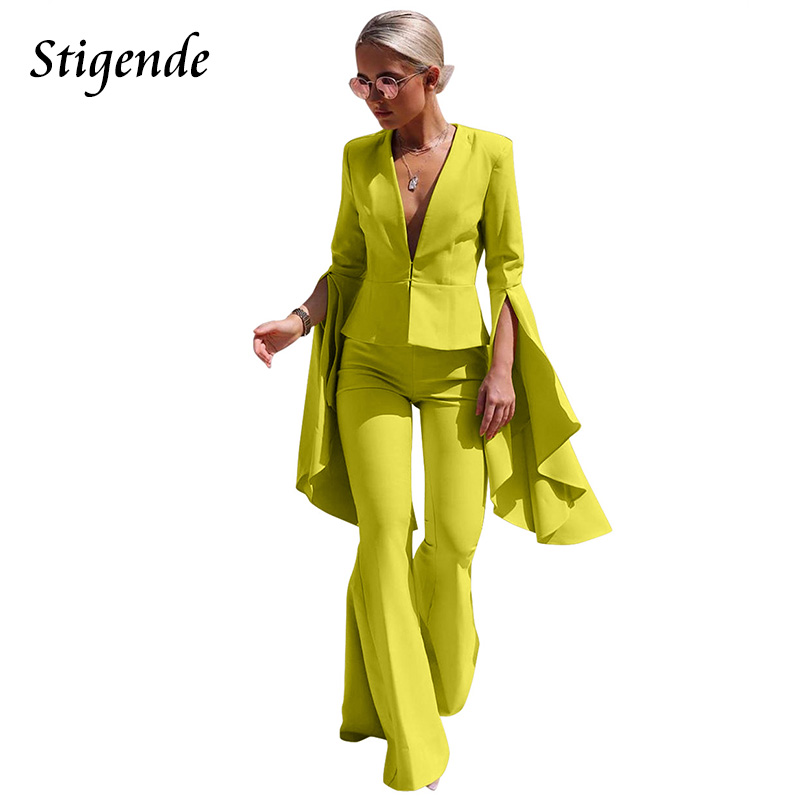 Stigende Women Elegant Suits Trouser Split Flare Long Sleeve Blazer And Pants Suits Fashion Solid Irregular Two Piece Suits