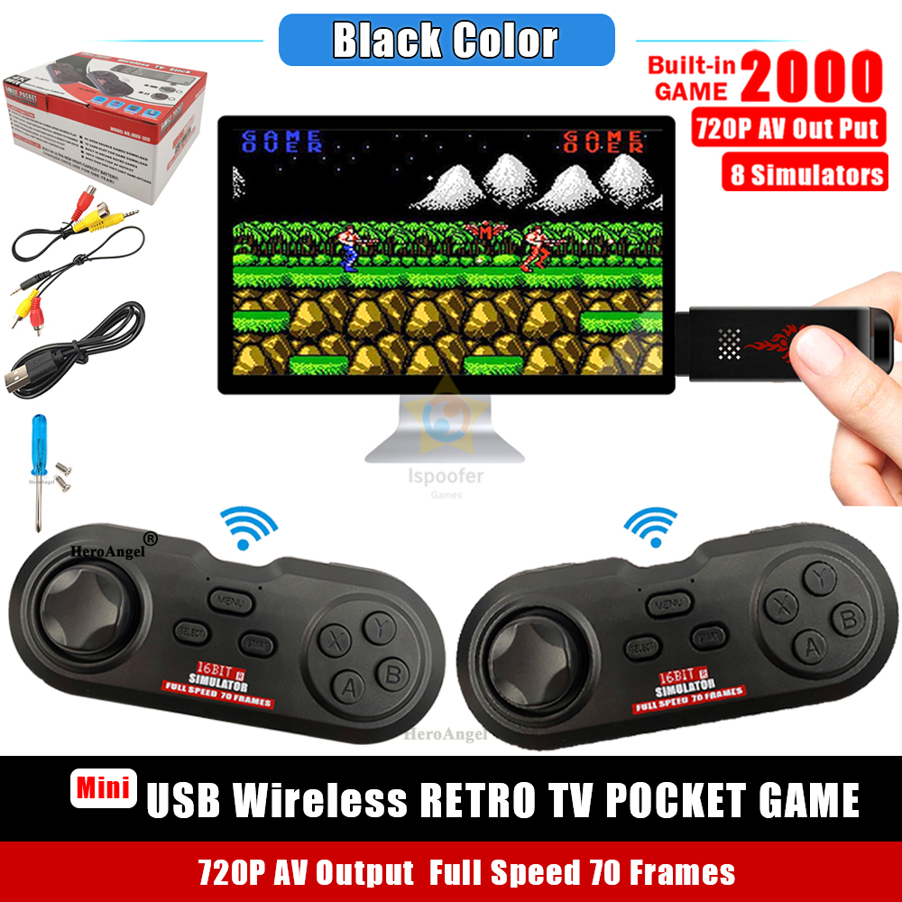 16Bit The Retro Stick USB Wireless Handheld for TV Video Game Durable Video Game 2 Controllers Build in 2000 Games