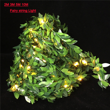 Led Ivy Leaf Garlands Fairy String Wedding Lights AA Battery Operate For Holiday Party Xmas Home decor Lighting 2M 5M 10M