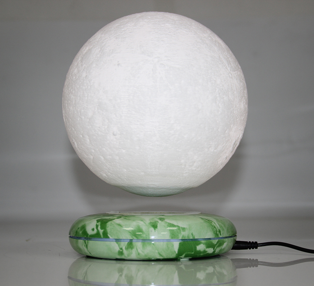 New Invention Gift Office Desk Decoration Magnetic Levitation 8 Inch Moon Globe Emerald Color Base  Floating Night Light