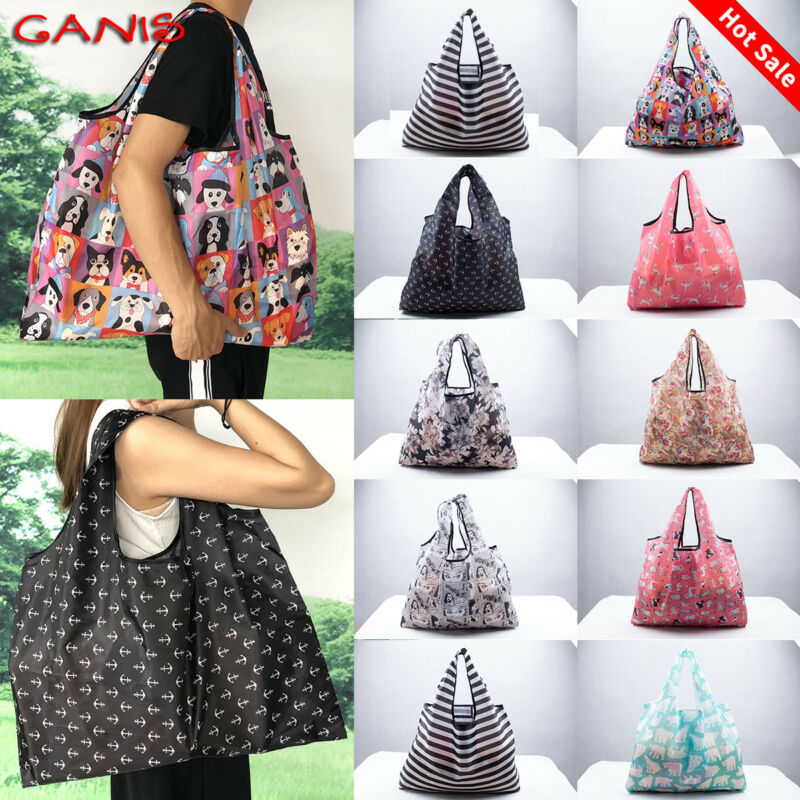 2019New Lady Foldable Recycle Eco Shopping Bag Reusable Shopping Tote Bag Floral Fruit Vegetables Food Beach Shopping Travel Bag