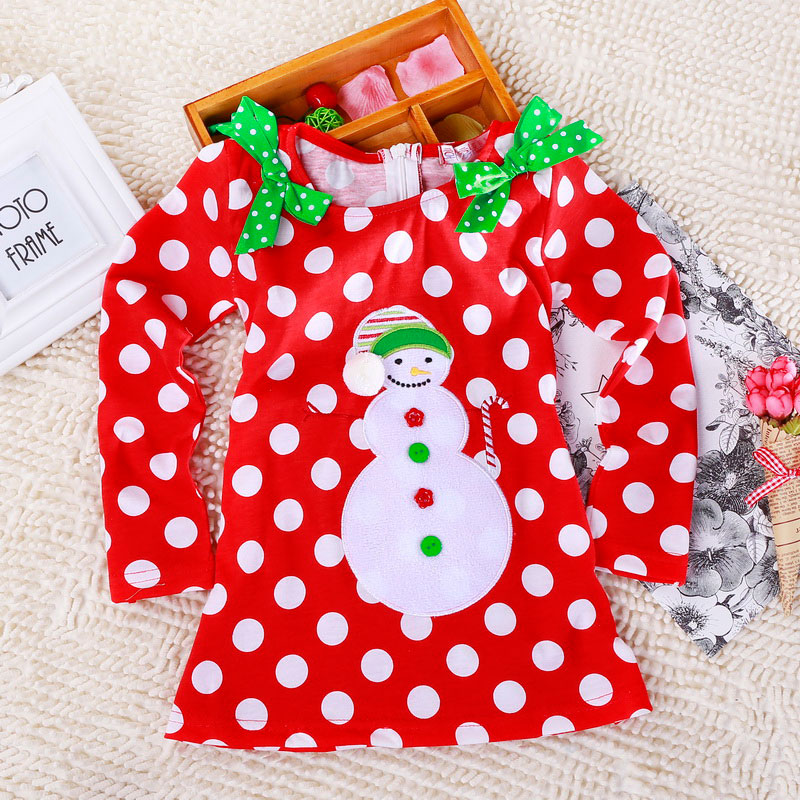 Ha003c4622c53409299ff594249df27138 2-6T Santa Claus Christmas Dress Kids Party New Year Costume Winter Snowman Baby Girl Clothes Christmas Tree Children Clothing