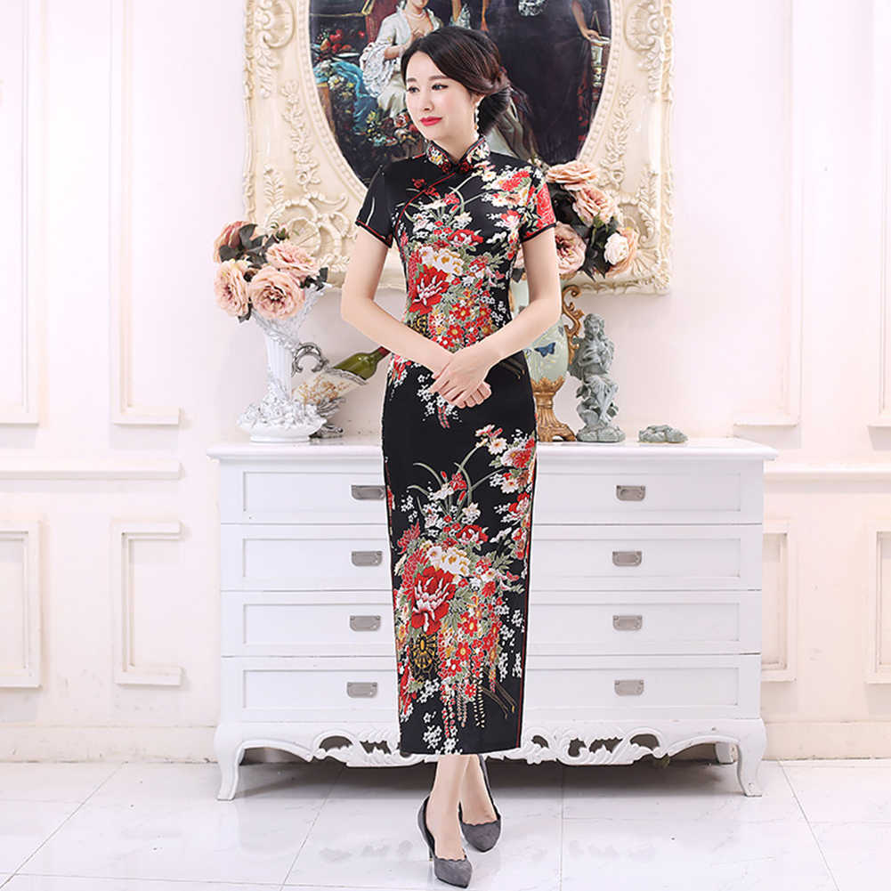 Vestido tradicional chino estampado de flores elegante manga corta Cheongsam Stand Collar ajustado ceñido al cuerpo Vestido Mujer Cheongsam