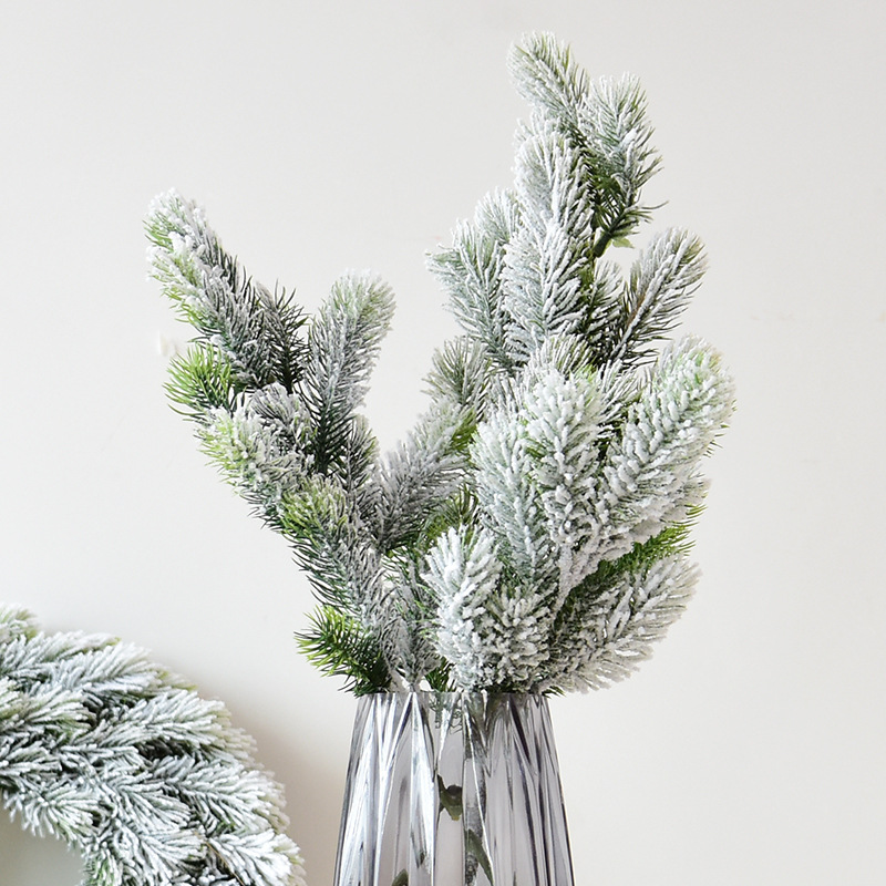 Snow pine Branch Home wedding decoration christmas decorative flower wreath artificial Garlands material fake grass faux plants