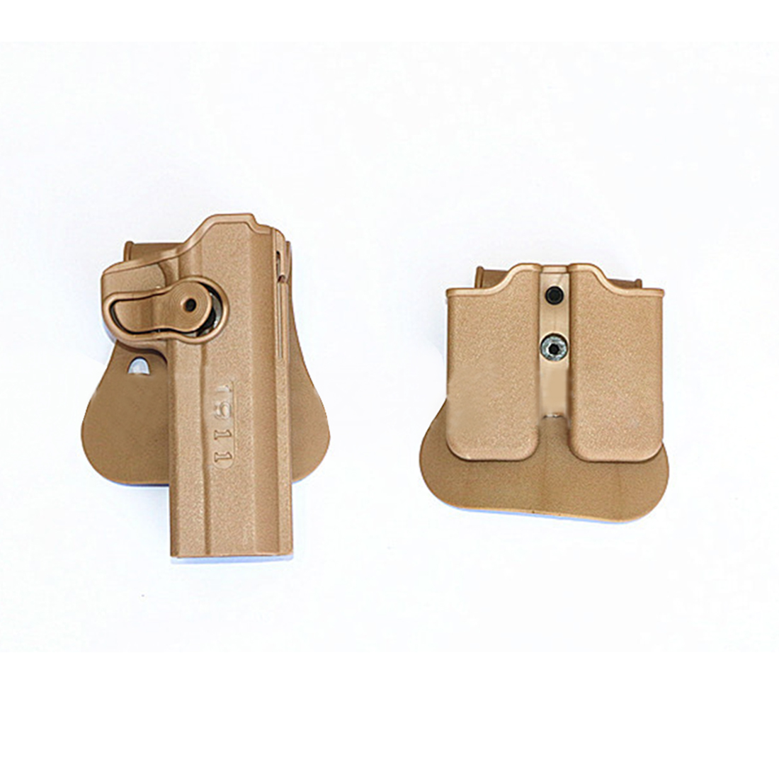 1Pair Outdoors Tactics Accessories Tactical Double Magazine Pouch And Holster With Waist Plates For <font><b>M1911</b></font> / 45ACP - Black Tan image