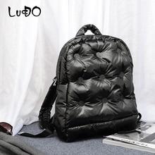 Women Backpack Mochila Cotton Fashion LUCDO Jacket Space-Pad Down-Bag Warm Winter Brand