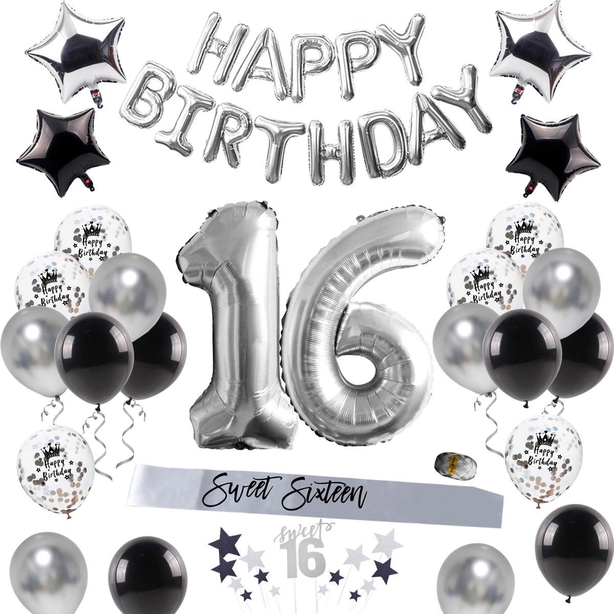 Украшения для вечеринки в честь Дня Рождения для взрослых, одноразовая посуда для 16 дней рождения, воздушный шар, декоративные принадлежнос...