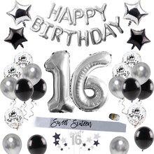 Decorações da festa de aniversário do feliz aniversário para o adulto doce 16 artigos de mesa descartáveis 16th aniversário balão decoração suprimentos