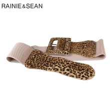 RAINIE SEAN Elastic Wide Belt Women Leopard Stretch Waist for Dresses Square Buckle 2019 New Fashion Female Cummerbund