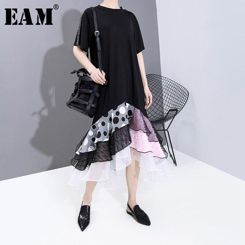 [EAM] Women Black  Dot Printed Mesh Ruffles Dress New Round Neck Short Sleeve Loose Fit Fashion Tide Spring Summer 2020 1T861