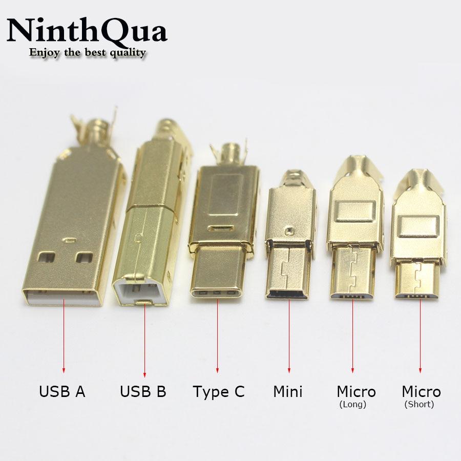 1/2/5 pces ouro chapeado tipo c usb a usb b mini usb micro conector jack conector da cauda soquete porto sockect para adaptador de áudio de alta fidelidade
