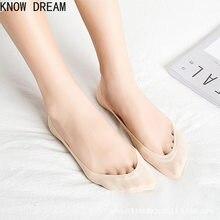 Meias de seda de gelo de sonho meias femininas rasas de verão meias de algodão puro silicone barco meias impressas
