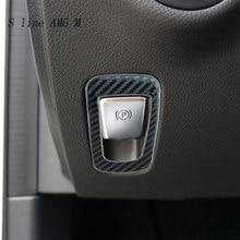 Pour Mercedes Benz W205 C classe C180 C200 C300 GLC X253 accessoires en Fiber de carbone boutons de frein à main électroniques garniture Auto autocollants