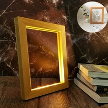 Table-Lamp Ornaments Photo-Frame Led-Lights Square Wooden Bedroom Usb Home-Decor Creative