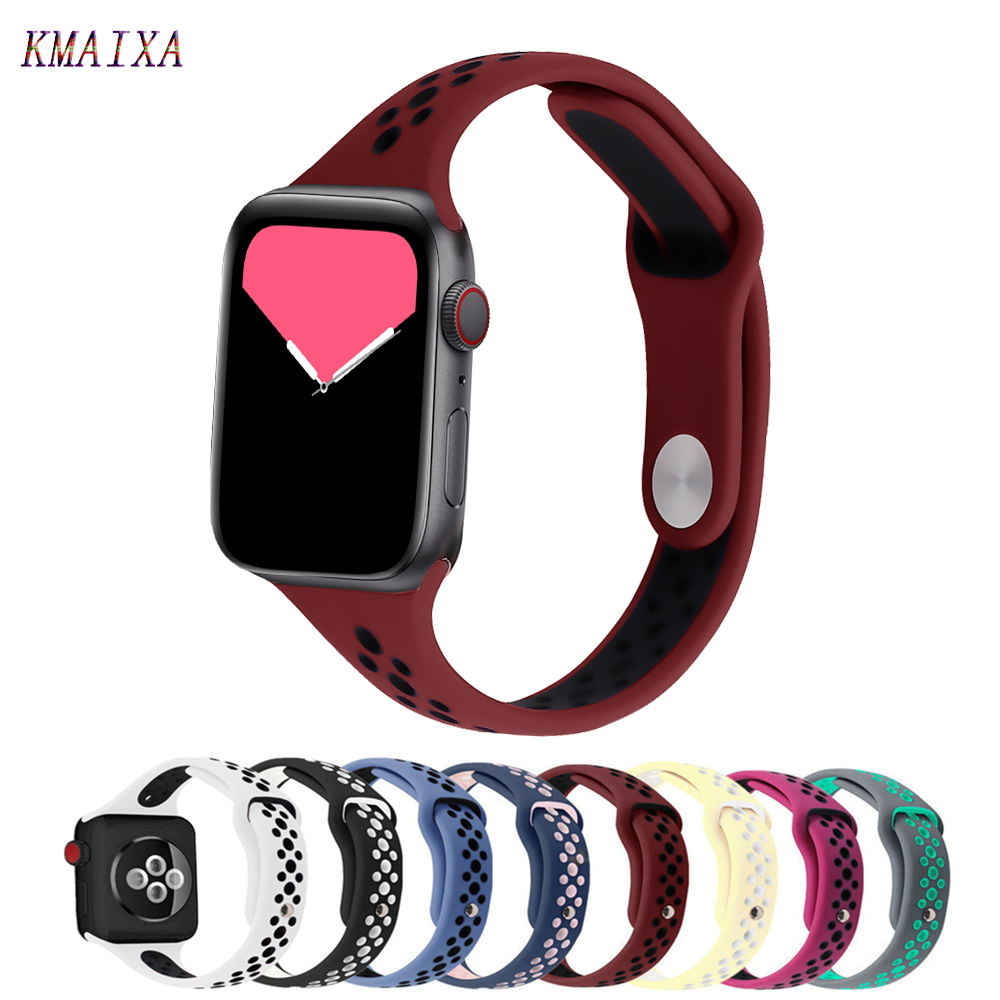 Slim Strap For Apple Watch Band 44 Mm IWatch Band 42mm Correa Apple Watch 5 4 3 2 38 Mm 40mm Breathable Sport Silicone Bracelet