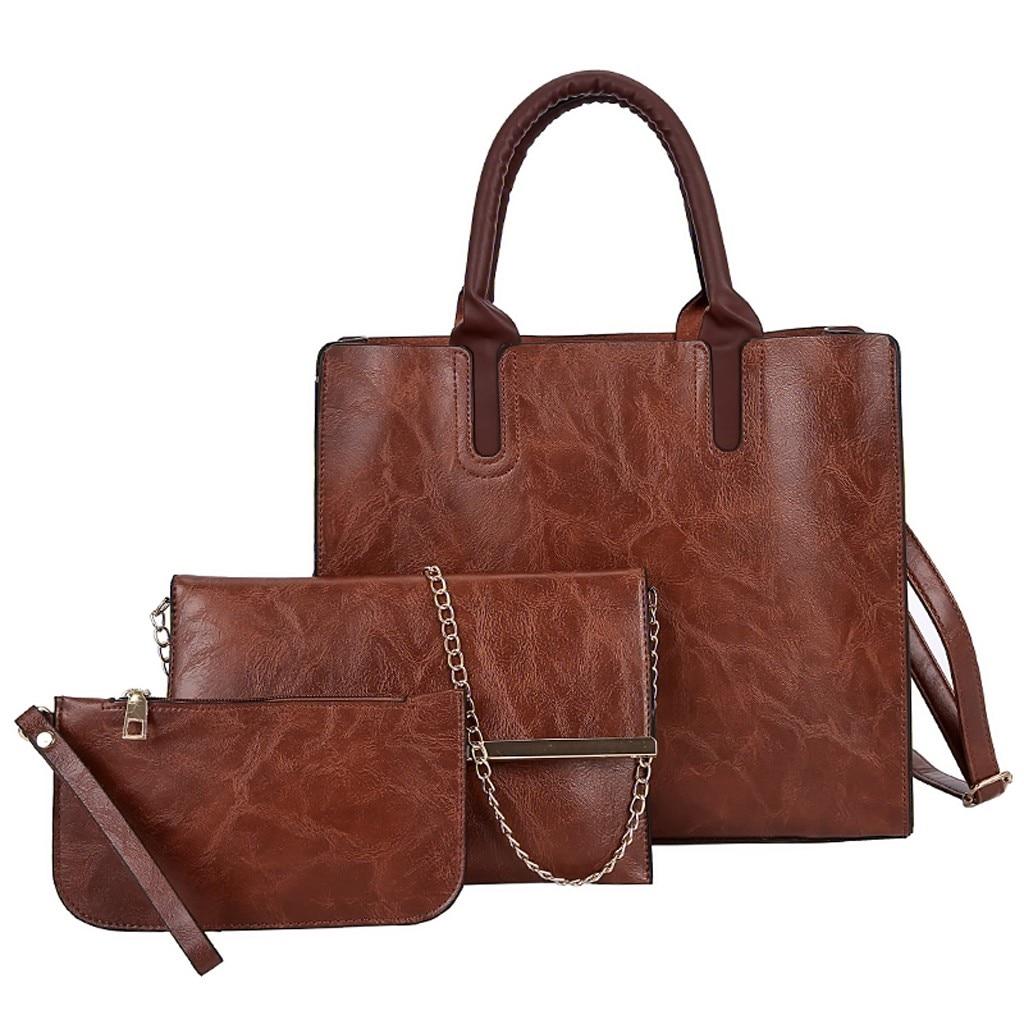 Ensemble sacs 3 pièces mode en cuir PU dames sac à main 66