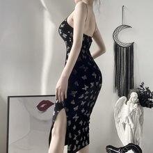 Escuro sexy borboleta imprimir split cheongsam pequena saia preta feminina camurça gótica ins suspender vestido de verão vestidos de veludo