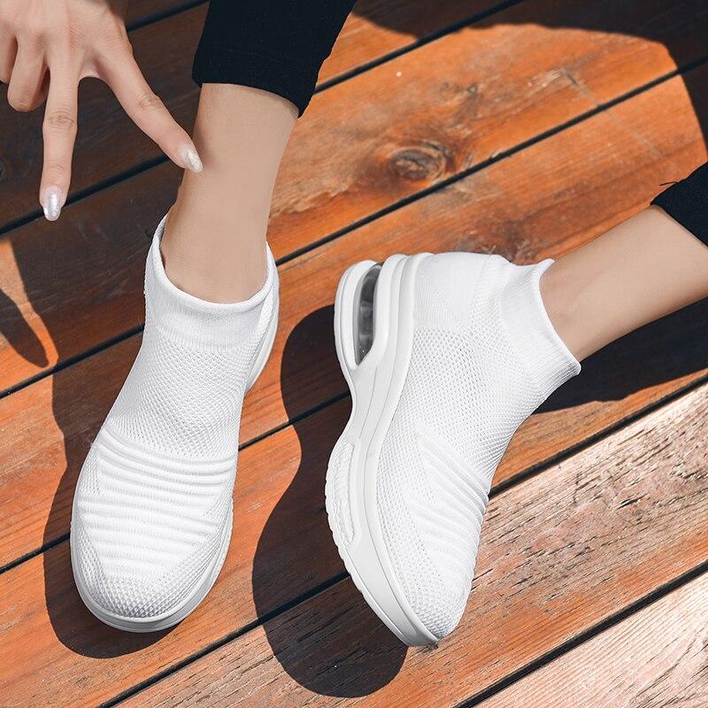 Women Tennis Shoes Tenis Feminino Ladies Light Sock Walking Sport Shoes Cushioning Sneakers Chaussures Femme Zapatos De Mujer