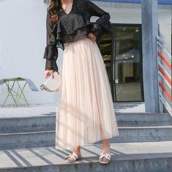 Skirt female summer skirt mesh skirt casual solid  lace skirt long section skirt princess skirt pleated a-line skirt fairy skirt skirt moe skirt