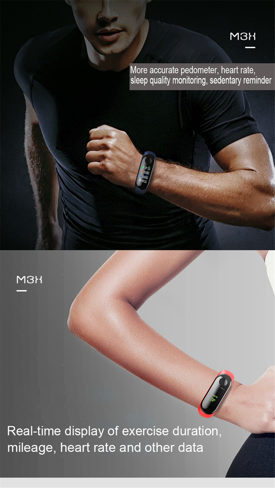 Ha004accb0d684fc5a993b26bf4c3eb57d M3 Smart Band Fitness Tracker Smart Bracelet Heart Rate Monitor Watches Waterproof Sport Wristband For Men Women Smartband