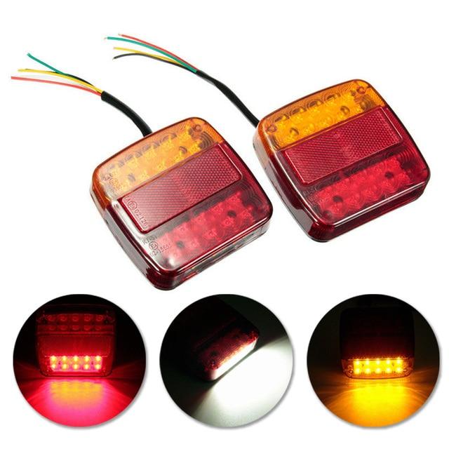 2pcs New 12V LED Car Trailer Truck Taillight Brake Stop Turn Signal light AS+ABS Shock Resistant Universal Car Lights 2
