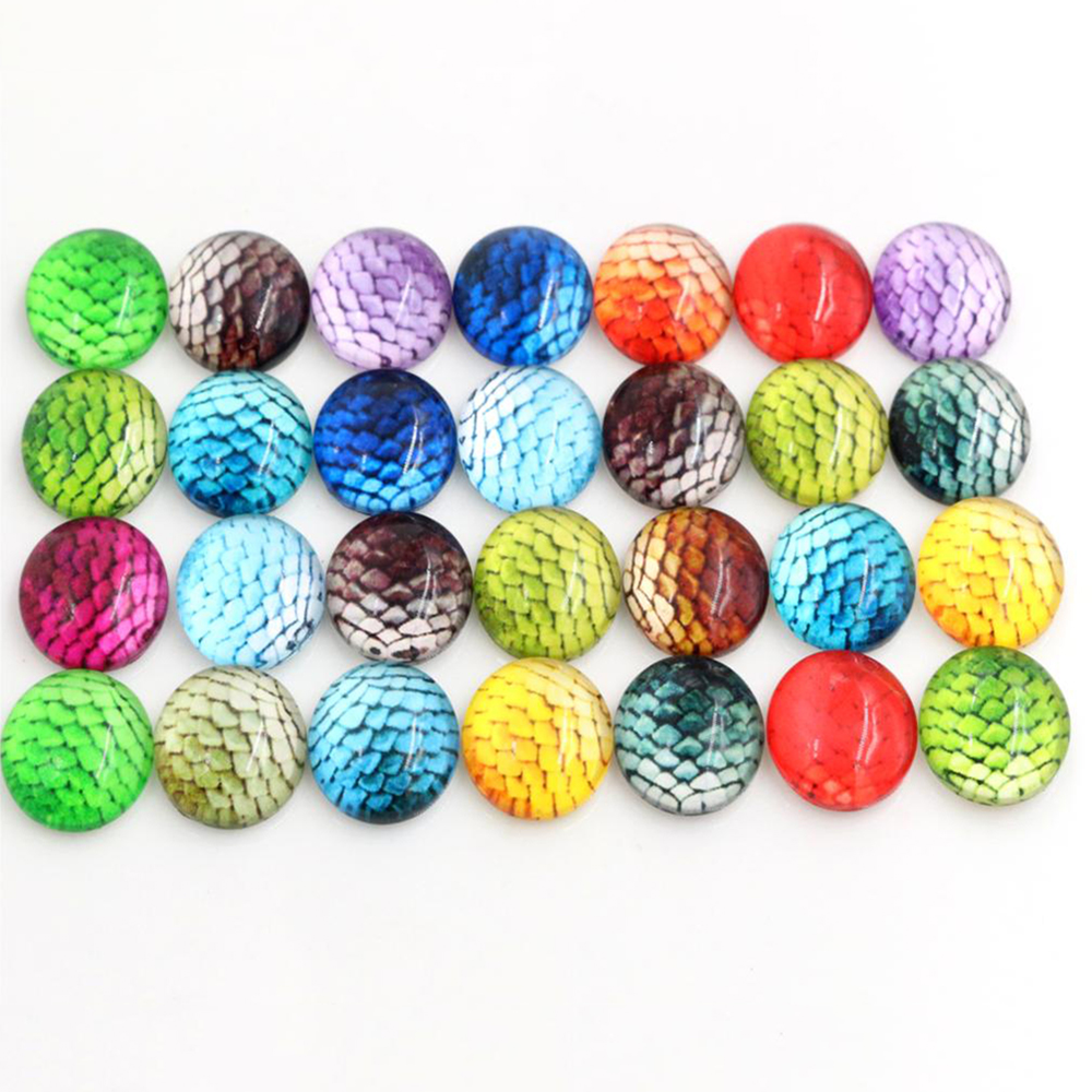50pcs/Lot 12mm Fish Scale Photo Glass Cabochons Mixed Color Cabochons For Bracelet Earrings Necklace Bases Settings-E6-26