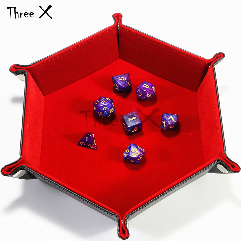 Dicekeeper PU Leather Tray Both Side Available Soft Velvet Foldable  Favorites Storage Dice Keys Coins Box Boardgame