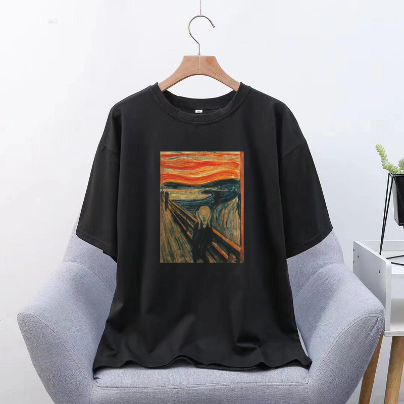 Edward Munch Shout <font><b>Men</b></font> Tshirt Print T <font><b>Shirt</b></font> <font><b>Korean</b></font> <font><b>Style</b></font> Aesthetic T <font><b>Shirt</b></font> Streetwear Modis Women <font><b>Oversized</b></font> Clothes image