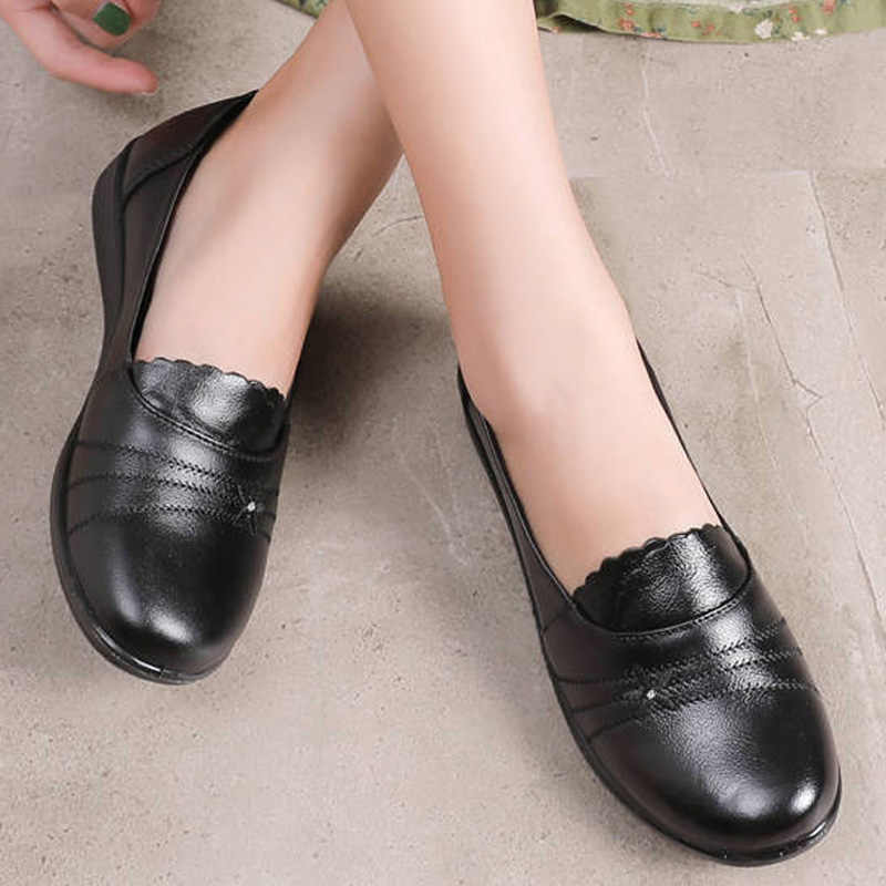 2019 autumn new female flats genuine leather women shoes slip on shoes for women black flats soulier femme