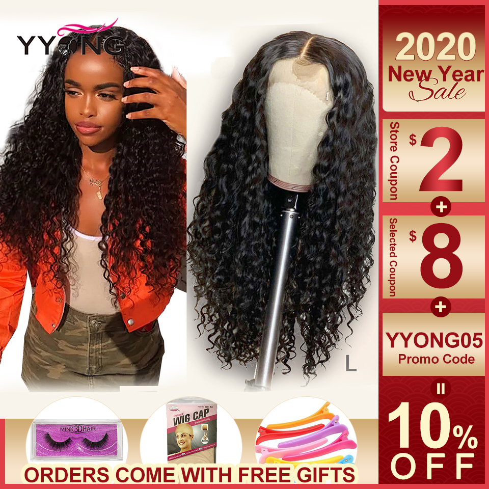 Yyong 13x4 Lace Front Human Hair Wigs With Baby Hair Indian Deep Wave Remy Human Hair 130% Lace Front Wigs For Women Low Ratio