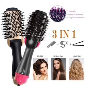 3-in-1 One Step Hair Dryer Combs Volumizer Blower Hot Cold Air Straightening Curling Iron Brushes Smooth Frizz Ionic Hair Fluffy(China)