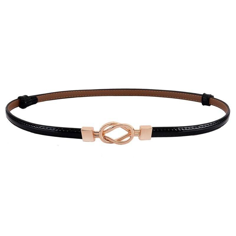 Waistbands For Women Cowskin White Thin Belts Female Adjust Patent Leather Waistband Casual Girls Gold Buckle Cummerbund Dress