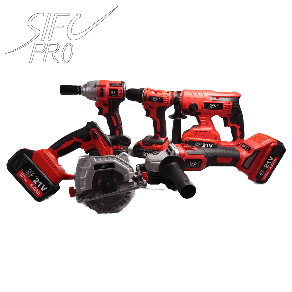 Sifc XT706 21V LXT Lithium-Ion Cordless Combo Kit (5 Piece) Hammder Drill Circular Saw Screwdriver Angle Grinder And Wrench