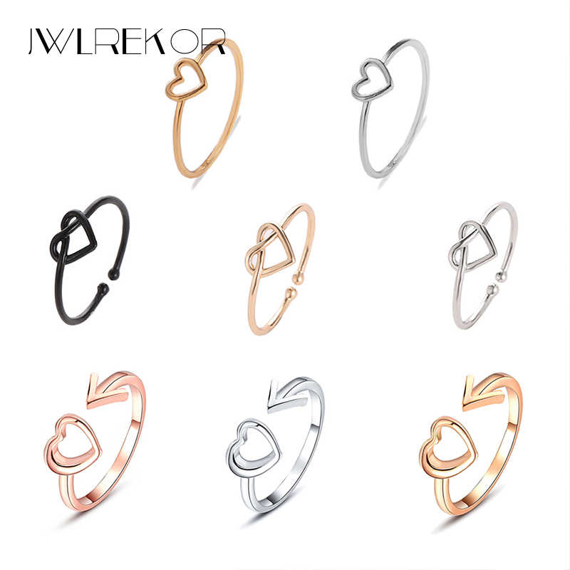 Golden Hollow Out Heart Shape Ring Simple Style 2019 New Wedding Ring for Women Jewelry Scarf Accessories Valentines Gift