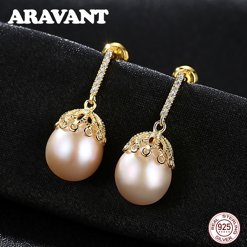 New Unique Design 100% Authentic 925 Sterling Silver Freshwater Pearls Jewelry Women Fashion Drop Earrings